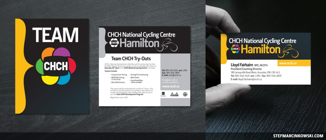 National Cycling Centre Hamilton poster, newspaper ad + business card