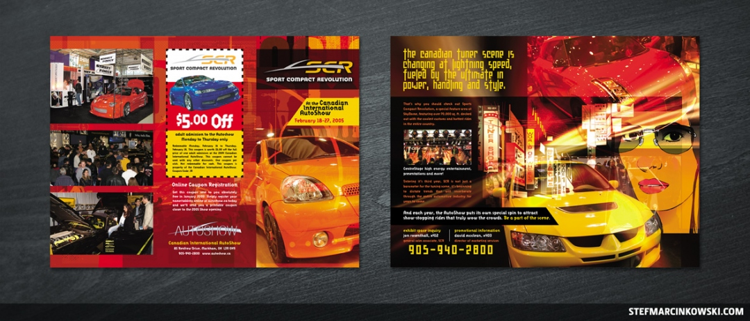 Sport Compact Revolution 6-panel brochure: outside and inside spreads